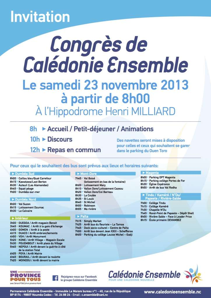 INVITATION CALEDONIE ENSEMBLE CONGRES DU 23 NOV