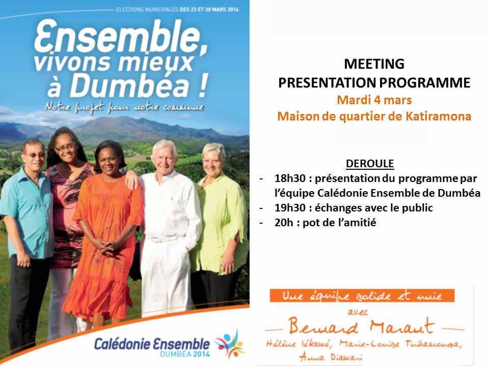 MEETING PRESENTATION PROG Dumbéa