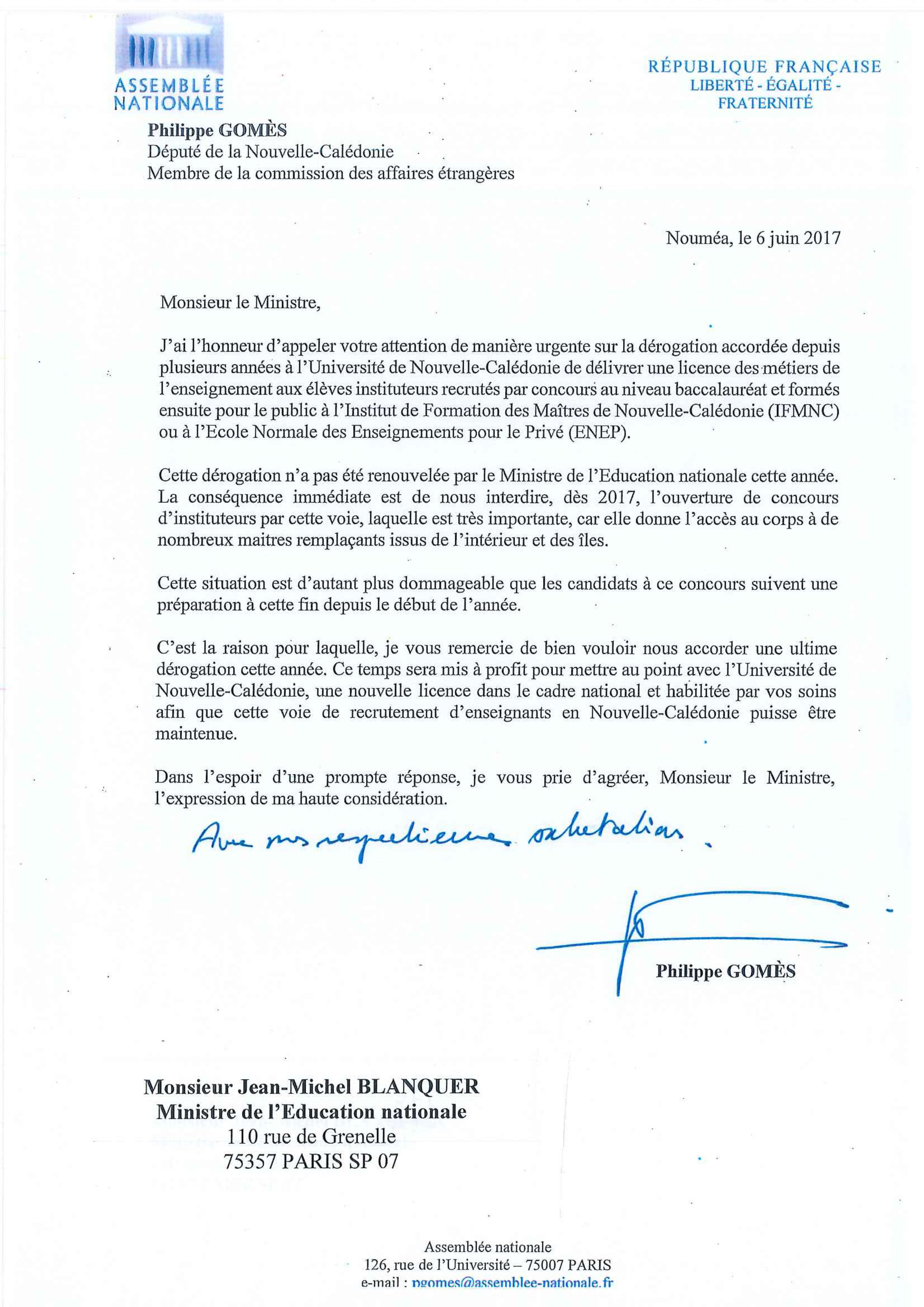 courrier au ministere de l u0026 39 education
